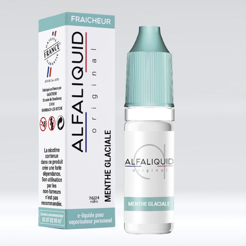 E-liquide saveur menthe glaciale de Alfaliquid en 76/24 PG/VG